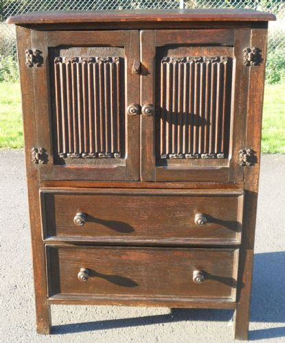 Oak Linenfold Tallboy Cupboard Chest